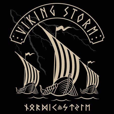 Warship of the Vikings. Drakkar, Viking design, ancient scandinavian ship and norse runes, isolated on black, vector illustration