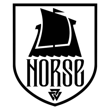 Warship of the Vikings. Drakkar logo, ancient scandinavian pattern and norse sign Valknut