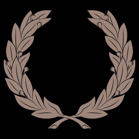 Wreath of Laurel branches, vintage illustration, Branches of olives, Laurel Wreath symbol of victory, isolated on black, vector illustration Vettoriali