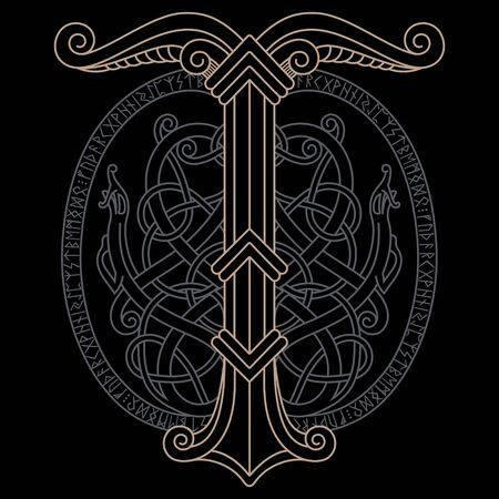 Ancient scandinavian knot-work illustration and Sacred tree Irminsul, isolated on black, vector illustration
