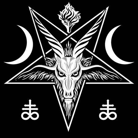 The pentagram, the sign of Lucifer. The head of a horned Goat in a pentagram. Sigil of Baphomet