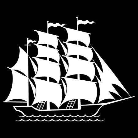 Silhouette of a sailing old ship, sailboat logo