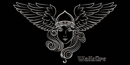 Viking Design. Valkyrie in a winged helmet. Image of Valkyrie, a woman warrior from Scandinavian mythology