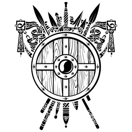 Viking design. Viking shield and swords. Set of medieval weapons, swords and spears of warriors Illustration
