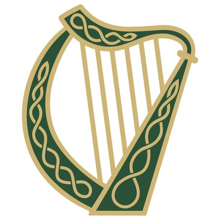 Ireland Harp musical instrument in vintage, retro style, illustration on the theme of St. Patricks day celebration