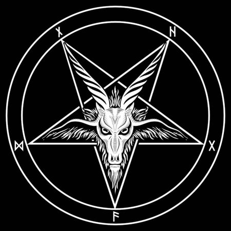The pentagram, the sign of Lucifer. The head of a horned Goat in a pentagram. Sigil of Baphomet Vektorgrafik