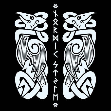 Ancient decorative dragon in celtic style, scandinavian knot-work illustration