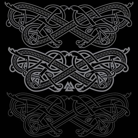 Ancient Celtic, Scandinavian mythological symbol of dragon. Celtic knot ornament
