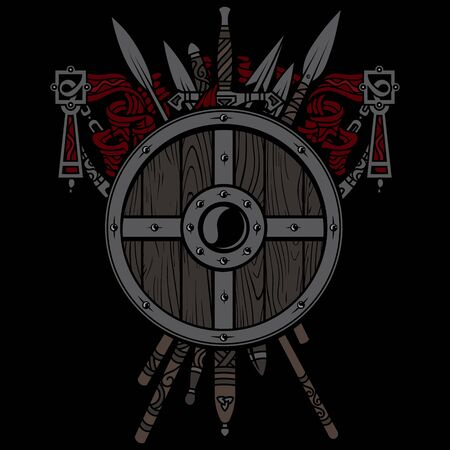 Viking design. Viking shield and swords. Set of medieval weapons, swords and spears of warriors Ilustração