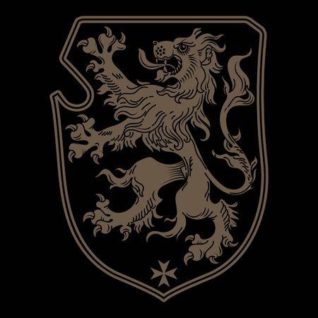 Vintage Knight heraldic royal emblem. A medieval heraldic coat of arms, heraldic lion, heraldic emblem design