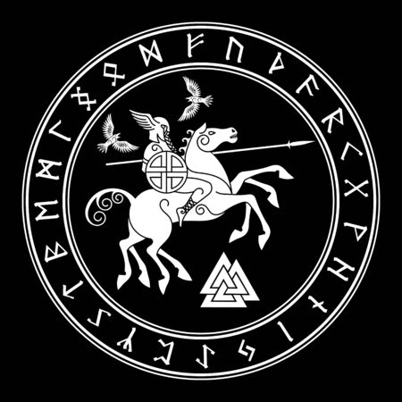 Gott Wotan reitet auf einem Pferd Sleipnir mit einem Speer und zwei Raben in einem Kreis nordischer Runen. Illustration der nordischen Mythologie