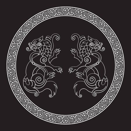 Two wolves of Odin - Geri and Freki, Scandinavian and Celtic style