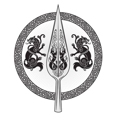The Spear Of The God Odin - Gungnir. Two wolves and Scandinavian pattern  イラスト・ベクター素材