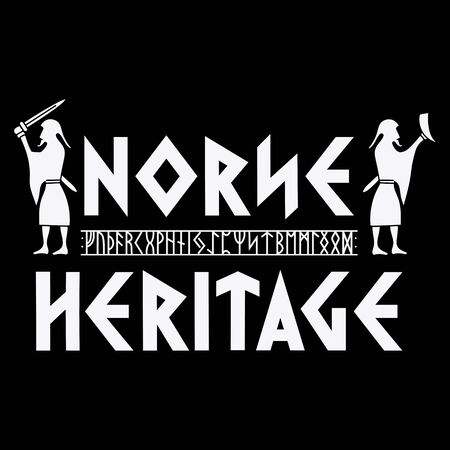 Scandinavian design with viking warriors, northern runes and hand-drawn text.