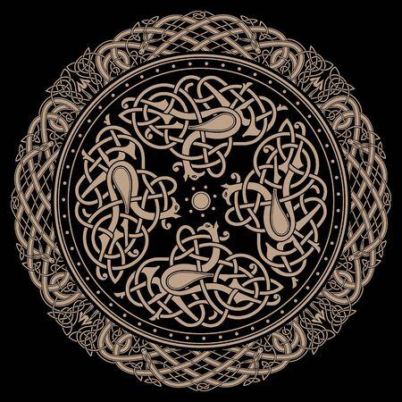 Ancient celtic mythological symbol of bird. Celtic knot ornament, isolated on black, vector illustration  イラスト・ベクター素材