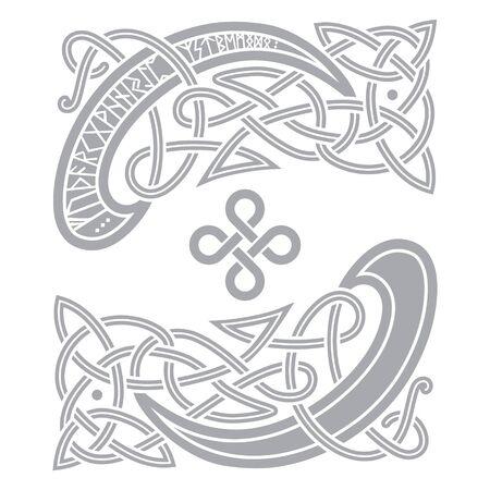 Ancient Celtic, Scandinavian pattern, scandinavian knot - work illustration
