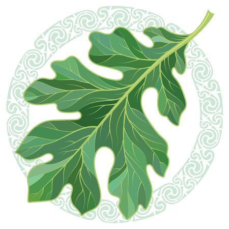 Oak leaf in summer coloring and Celtic magic ornament