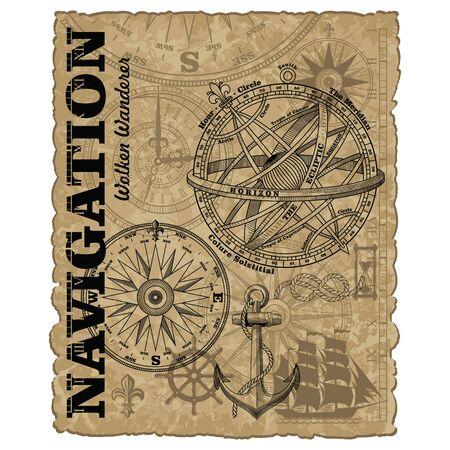 Navigation maritime vector design. Nautical design. Navy illustration. Ocean wallpaper. Sailboat, anchor, steering wheel, marine rope knot, vintage marine compass and Armillary Sphere, vector illustration Vecteurs