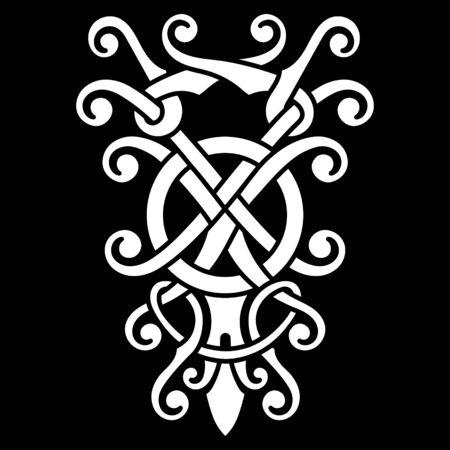 Viking Scandinavian design. Celtic, Scandinavian knot-work illustration,  イラスト・ベクター素材