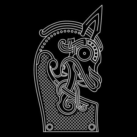 Scandinavian design. The nasal figure of the Viking ship Drakkar in the form of a dragone Illusztráció