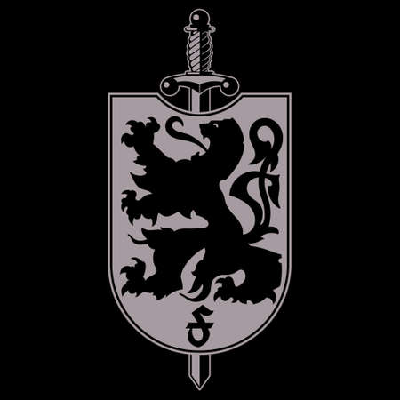 Heraldic coat of arms. Heraldic lion silhouette, heraldic shield with a lion and sword 일러스트