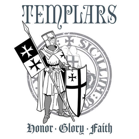 Knightly design. Knight Templar in armor with a spear, shield, flag and medieval knight seal Illustration