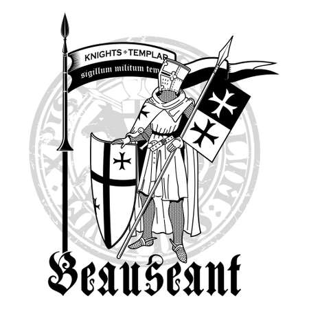 Knightly design. Knight Templar in armor with a spear, shield, flag and medieval knight seal Illusztráció