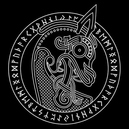 Scandinavian design. The nasal figure of the Viking ship Drakkar in the form of a dragone and runic circle Illusztráció