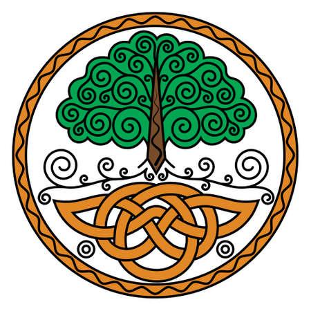 Illustration in Celtic Scandinavian style. World Tree Yggdrasil and Celtic Patterns