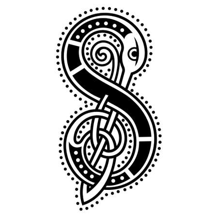 Initial letter, ornamental letters, calligraphy handwritten , the letter S in Celtic style