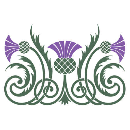 Design of leaves and flowers of the Thistle in Celtic style