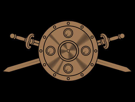 Old Norse, Viking design. Two crossed battle Viking swords, and viking shield