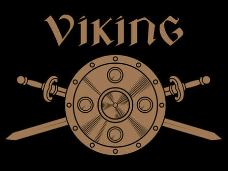 Old Norse, Viking design. Two crossed battle Viking swords, shield and inscription Viking Illustration