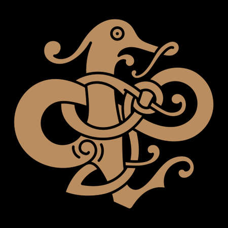 Vintage Dragon. Illustration in the Scandinavian Celtic style