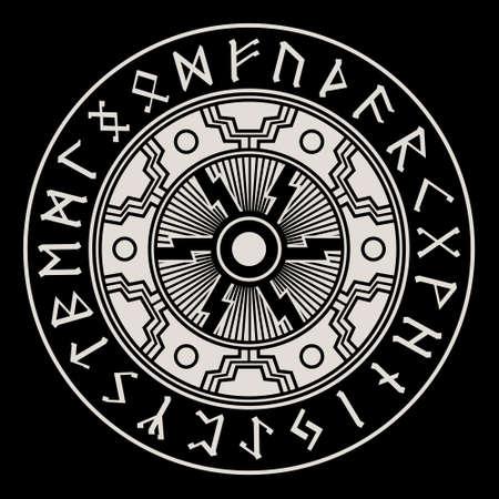 Illustration in Celtic Scandinavian style. Celtic pattern, Sun wheel, mandala and circle of Scandinavian runic symbols, old Norse runic alphabet Vettoriali