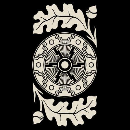 Illustration in Celtic Scandinavian style. Celtic pattern, Sun wheel, mandala and oak leaves