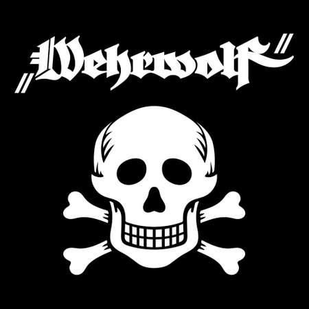 Skull and Bones and inscription in German Wehrwolf - Werewolf in English. Military insignia of Germany in the first and second world war  イラスト・ベクター素材