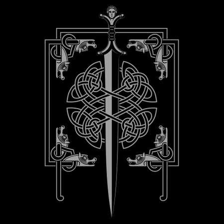 Celtic design. Celtic sword and Celtic Scandinavian ornaments in a frame depicting wolf heads  イラスト・ベクター素材