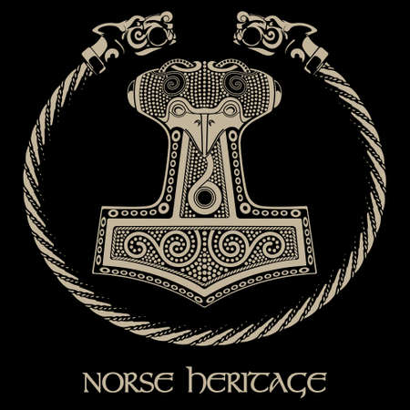 Thors hammer - Mjollnir and the Scandinavian ornament  イラスト・ベクター素材