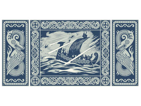 Viking design. Drakkar sailing in a stormy sea. In the frame of the Scandinavian pattern, isolated on white, vector illustration