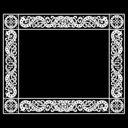 Patterned frame in Celtic Scandinavian style. Ancient Scandinavian design  イラスト・ベクター素材
