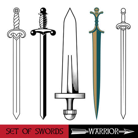Ancient Europe weapon - set of swords. Vikings sword, sword knights crusaders, Celtic sword Ilustração