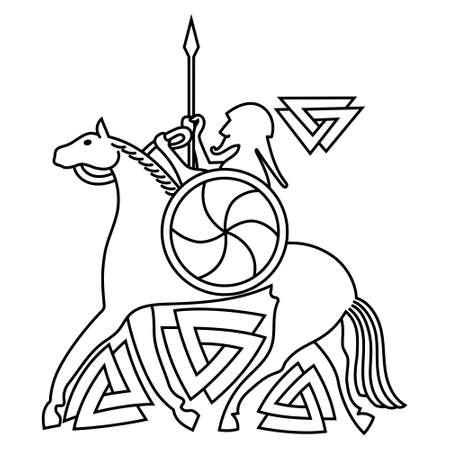 Ancient Scandinavian God Odin, God Odin on horse Sleipnir. Illustration of Norse mythology