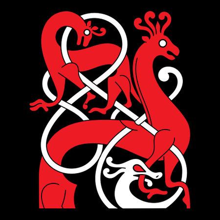 Viking Scandinavian design. Ancient decorative mythical animal in Celtic, Scandinavian style, knot-work illustration