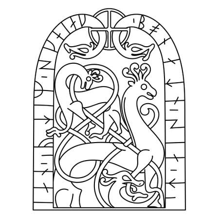 Ancient decorative mythical animal in Celtic, Scandinavian style, Scandinavian knot-work illustration