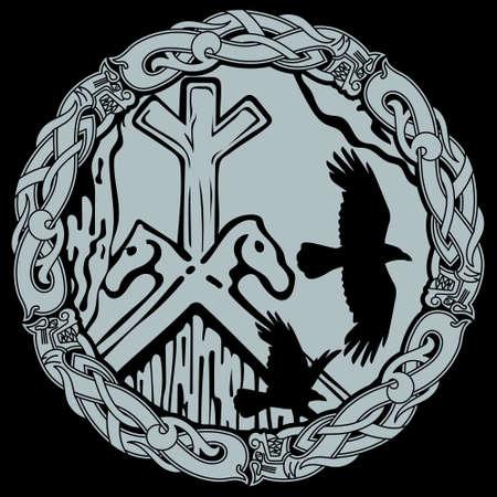 Viking design. Flying black Ravens and Scandinavian pattern