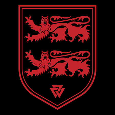 Knightly design. Viking design. Heraldic knight shield with lions