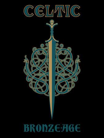 Celtic, Viking design. Celtic sword and Celtic Scandinavian ornaments