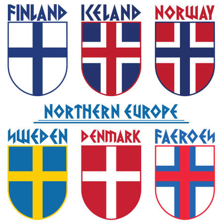 Flags of the Nordic countries, Scandinavia. Norway, Iceland, Sweden, Denmark, Finland, Faroe Islands