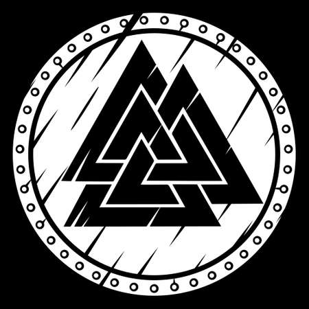 Scandinavian Viking design. Viking shield and the sign of the Old Norse God Odin - Valknut Иллюстрация